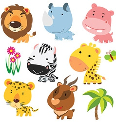 Child cartoon animals vector