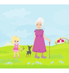 Grandmother with granddaughter and dog on a walk vector