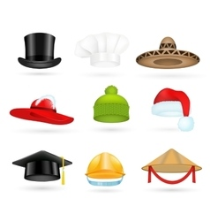 Set of 3d top hats different proffesions vector