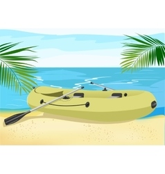 Rubber boat on the sea shore vector