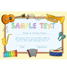 Certificate template with musical instruments vector