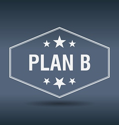 Plan b hexagonal white vintage retro style label vector