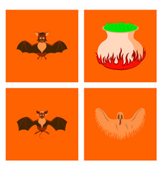 Assembly flat potion cauldron bat ghost vector