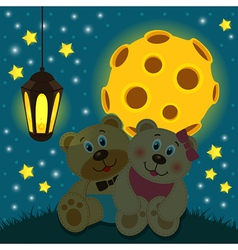 bears under the moon vector image