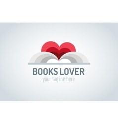 Books heart logo vector