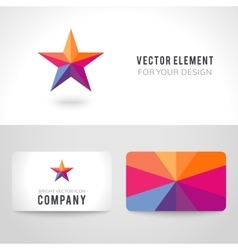 Bright colorful star shape in modern polygonal vector image
