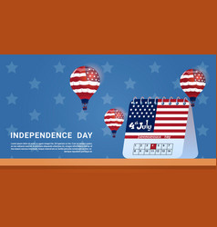 calendar 4 july united states independence day vector image vector image