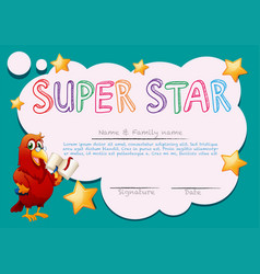 Certificate template for super star vector