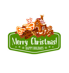 Christmas gingerbread cookie greeting card design vector