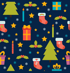 christmas seamless pattern cute background with vector image
