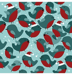 Christmas seamless pattern with bullfinch birds vector image vector image