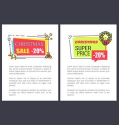 Christmas super price sale 20 off advert labels vector