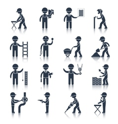 Construction worker icons black vector image