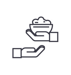 Donate food concept thin line icon symbol vector