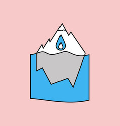 Flat icon design collection melted ice berg vector