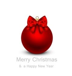 Greeting card with red Christmas ball vector image
