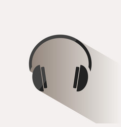 Headphones icon on a beige background with shade vector
