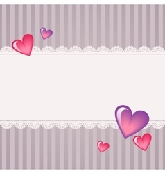 Hearts in front of the laces valentines day card vector