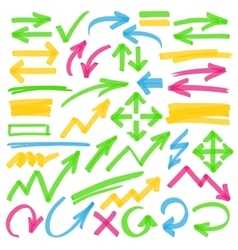 Highlighter Arrows and Marking Design Elements vector image vector image