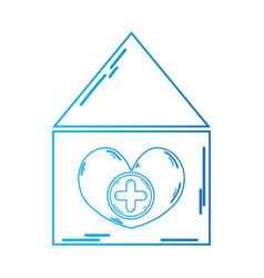 line blood donation house to help the people vector image vector image