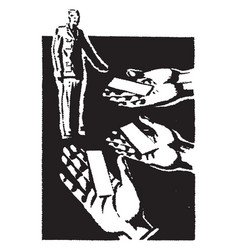 Multiple hands handing man cards vintage engraving vector