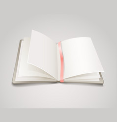 Open paper book with the bookmark vector