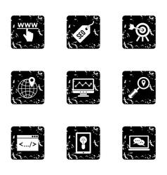 Optimization icons set grunge style vector