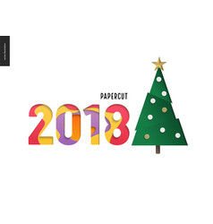 Papercut - christmas tree and digits 2108 vector