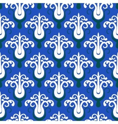 Pattern with stylized trees on blue vector image