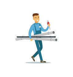Proffesional plumber man character walking with vector