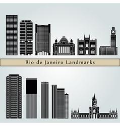 Rio de Janeiro V2 landmarks and monuments vector image vector image
