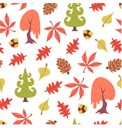 seamless pattern of autumn plants and leaves vector image