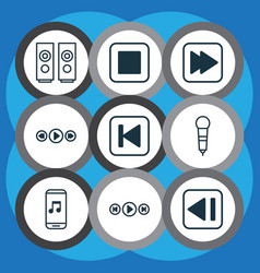 Set of 9 audio icons includes run song back vector