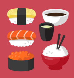 set of asian sushi food vector image vector image