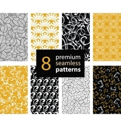 Set of Black White and Gold Yellow vector image vector image