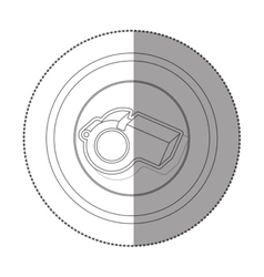 silhouette sticker with circular shape of whistle vector image