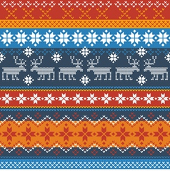 Traditional norwegian pattern with reindeer vector