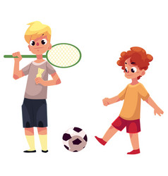 two boys playing badminton and football at the vector image