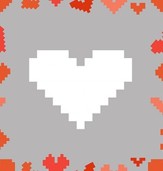 Valentine greeting card with pixel hearts vector image