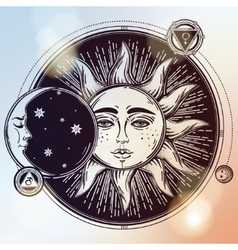 Vintage hand drawn sun eclipse with planets vector image vector image
