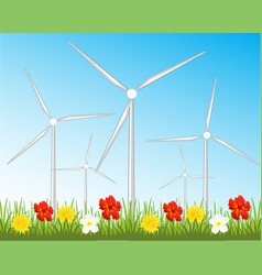 Wind generators on glade vector