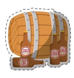 Wooden barrel with bottles of beer design vector