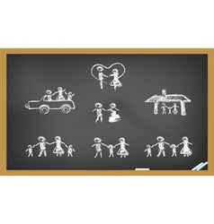 Doodle happy family on blackboard vector