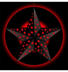 Black 3D star over red and black background vector image