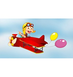 monkey flying in aircraft with balloons vector image