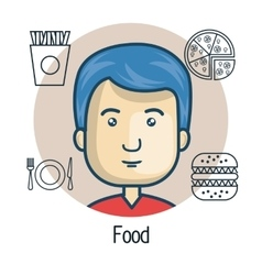 Avatar man with food design vector
