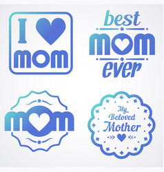 Happy mothers day lettering calligraphic emblems vector