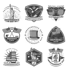 Monochrome vintage independence day labels set vector