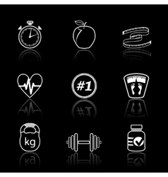 Fitness sport icons set vector