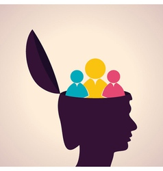 thinking concept-Human head with people icon vector image